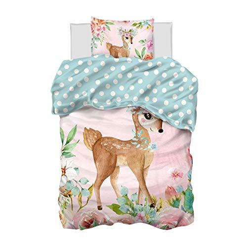Aminata Kids Bettwäsche 135 x 200 Mädchen Jugendliche Baumwolle Kinder REH-Kitz Tier-Motiv rosa - mit Blumen Rosen - Reißverschluss - romantische Kinder-Wende-Bettwäsche-Set Teenager