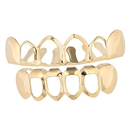 sharprepublic 18 K Zahn Grill Zahnschmuck obere und untere Zahnreihe durchsichtig Zähne Schmuck für Fotografieren - Golden