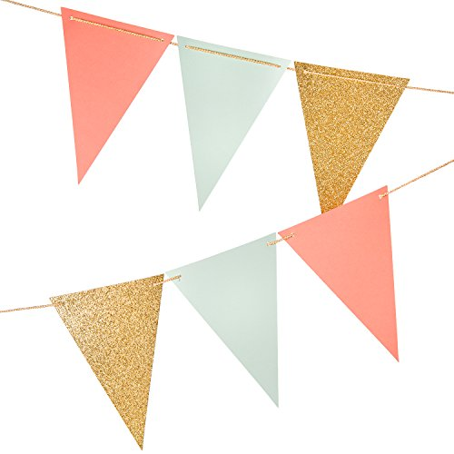 10 Feet Paper Triangle Banner Flags,Paper Banner Flags Triangle Banner Flags for Wall Decor, Wedding Garland, Birthday Party, Baby Shower,Gold Glitter+Coral Pink+Mint Green,15 Pcs