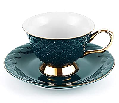 LIFVER Tea Cup and Saucer Set, 8 Ounces Porcelain Coffee Cup and Saucer with Decorative Line, Vintage Style, Green