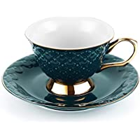 LIFVER Tea Cup and Saucer Set, 8 Ounces Porcelain Coffee Cup and Saucer with Decorative Line, Vintage Style (Green)
