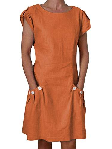 """Yidarton Damen Sommer Kleider Strand Elegant Casual A-Linie Kleider à""""rmellos Strandkleid Sommerkleider Partykleid Minikleider, Orange3, L"""
