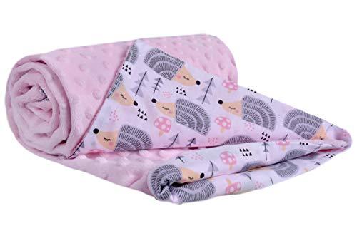 Manta para Gatear 100% algodón 75x100cm Medi Partners Multifunción Manta Minky para Cochecito de bebé Suave y mullida (Erizos con Rosa Claro Minky)
