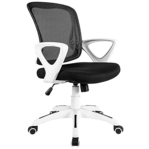 RYANGEL Office Chair Ergonomic Desk Chair with Arms, Height Adjustable Comfortable Mesh Computer Chair, White