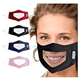 4PC Unisex Face Clear Mask Visible Expression for Deaf-mute,Communication Lip Language Visual Mask (Multi)