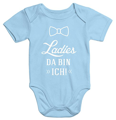 MoonWorks MoonWorks lustiger Baby-Body mit Aufdruck Ladies da Bin ich Bio-Baumwolle Kurzarm hellblau 0-3 Monate