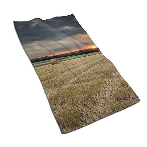 N/A Natuur Landschappen Velden Gewassen Boerderij Hay Bales Zachte Douche Badhanddoeken Handdoek Zeer Absorberend voor Keuken, Hotel,Yoga,Gym,Spa (27 X 15 Inch)