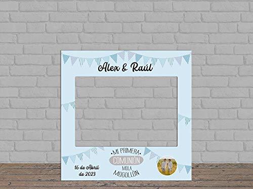 Oedim Photocall Mi Primera Comunión Fondo Azul + Carteles Personalizado, photocall Decorativo para comuniones, decoración para Eventos