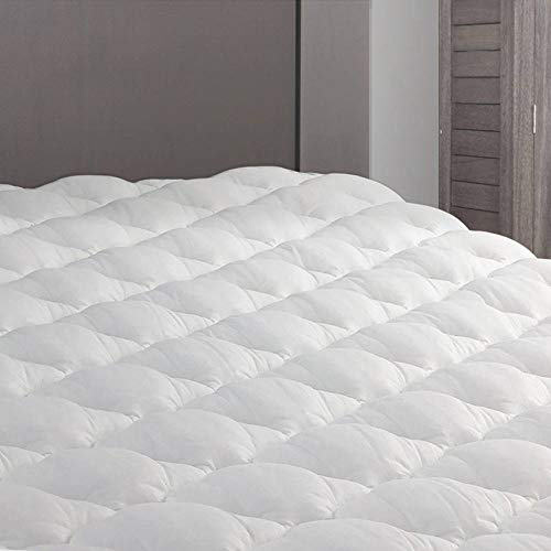 eLuxurySupply RV Mattress Pad - Extra Plush Topper with Fitted Skirt - Found in Marriott Hotels - Made in The USA - Mattress Cover for RV, Camper - Queen