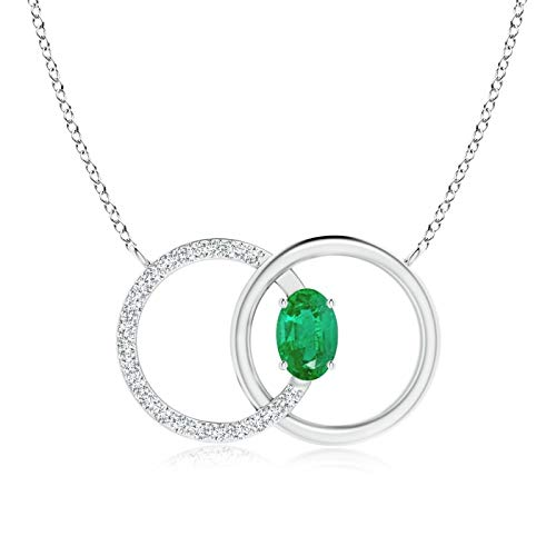 Emerald Interlocking Circle Necklace with Diamond Accents in 14K White Gold (6x4mm Emerald)