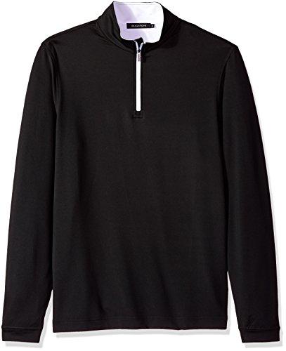 Bugatchi Men's Long Sleeve Quater Zip Mock Neck Performance Hoodie, Black, M