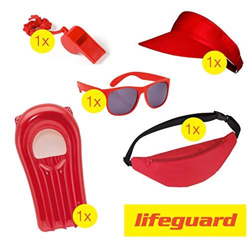 TK Gruppe Timo Klingler Lifeguard Set Fasching Kostüm Karneval Verkleidung Rettungschwimmer Bademeister Boje Rettungsring Rettungsbrett Schwimmboje wie Baywatch Herren & Damen