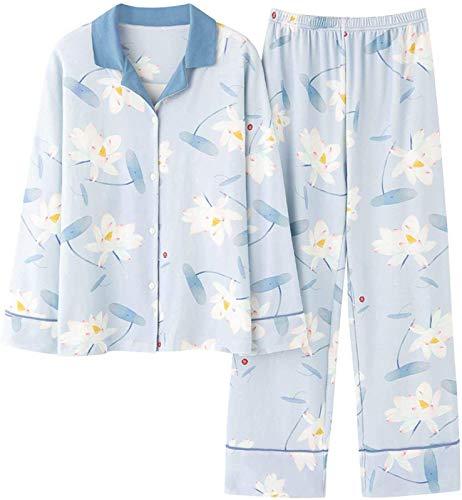 BSJZ Pijamas cómodos, Regalos de cumpleaños para Mujer y Madre, Pijamas para Mujer, patrón de Flores de Loto, diseño de Cuello Vuelto, Pijama, Traje de Dormir, Manga
