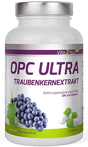 OPC Ultra Traubenkernextrakt 600mg pro Kapsel - mit Vitamin C aus Acerola - OPC mit Analysezertifikat - 120 Kapseln - Hochdosiert - 4 Monatspackung - Premium Qualität