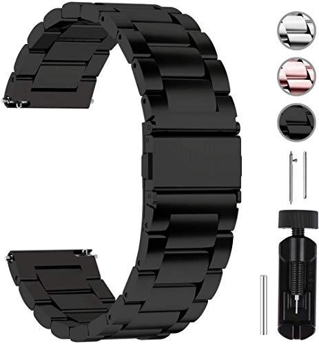 DXR - Pulsera de acero inoxidable para reloj, 14/16/18/19/20/22/24 mm, correa de reloj de metal con cierre rápido, apto para damas y hombres, color negro