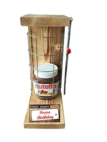 Happy Birthday Eiserne Reserve Befüllung mit Nutella 450g Glas - incl. Säge zum zersägen des Gitter - Geschenk für Männer- Geschenk für Frauen -