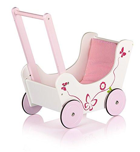 LEOMARK Lauflernwagen Aus Holz Puppenwagen inkl. Bettwäsche Schmetterling Puppen Wagen Lauflern Wagen Lauflernhilfe Garnitur Pink - 3