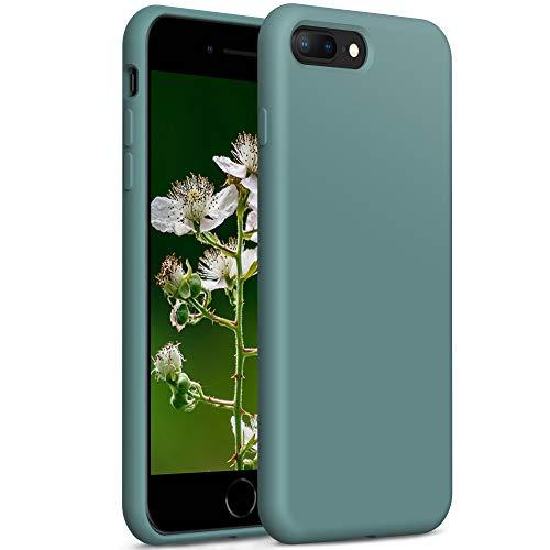 YATWIN Compatibile con Cover iPhone 8 Plus 5,5'', Compatibile con Cover iPhone 7 Plus Silicone Liquido, Protezione Completa del Corpo con Fodera in Microfibra, Verde Pino