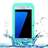 Teléfono contraportada de Shell For Samsung Galaxy S7 Edge / G935 IPX8 Plástico ProtectoraFunda Impermeable de Silicona Transparente con cordón (Color : Green)