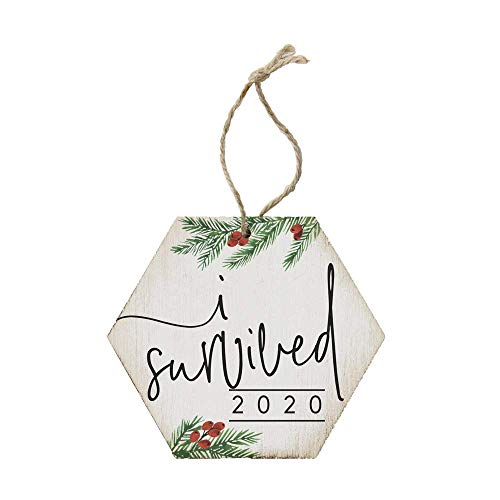 Not Branded Simply Said, I Survived 2020 (Holiday) - 4.5 x 6.88 in Wooden Christmas Tree Ornament ORH1205