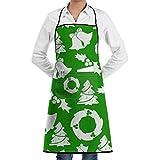 Drempad Unisex Schürzen, Christmas Tree and Bells Faction Unisex Kitchen Cooking Garden Kitchen Cooking Chef Apron Adjustable Sewing Pocket Waterproof Chef Aprons