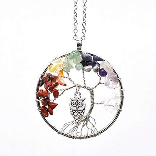 Decorativo Crystal, 7 Chakra Natural de Cristal/Rainstone Cuarzo árbol de la Vida, Colgante, Collar de Las señoras de los Hombres del péndulo Reiki Chakra joyería for la decoración del hogar Colecci