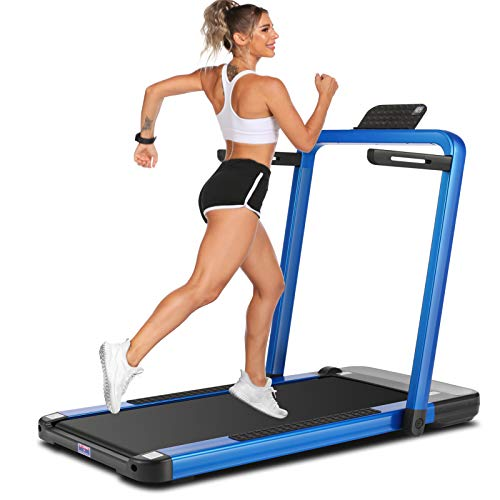 ANCHEER 2 in 1 Under Desk Treadmill, 2.25HP APP Control Folding Treadmills with Large LCD Touch Monitor and Watch Remote Controller, Indoor Walking Running Exercise Machine for Home Office (Blue)