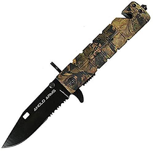 Anglo Arms Camouflage Taschenmesser mit einer 9 cm festen Messerklinge inklusive Seilschneider, Glassschneider und Gürtelhalter für die Jagd oder für Überlebensaktivitäten.