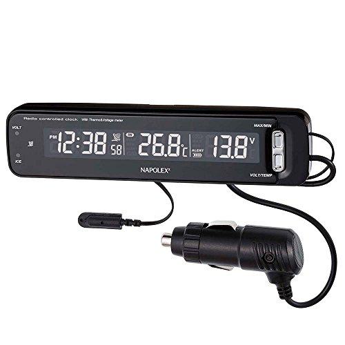 ナポレックス 車用 電波時計/電圧計/温度計 Fizz VTメータークロック ブラック カープラグ給電 (DC12V) 誤...