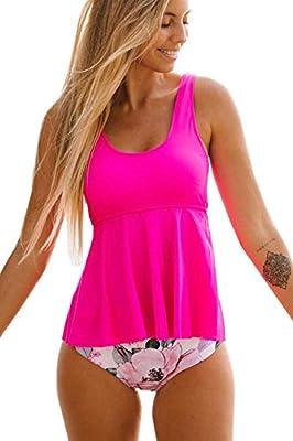 Beachsissi Women Tankini Swimsuit Flower Print Ruffle Hem Tummy Control Bathing Suit Hot Pink