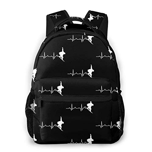 Awesome Heartbeat Snowboarding for Snowboarders Causal Daypack Rucksack Vintage College School Bags Multipurpose Laptop Backpack for School/Business/Work/Men/Women