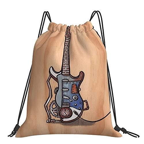 FJJLOVE Steampunk Gitarre Kordelzug Rucksack Tasche Sackpack Gym S.ack Sport Beach Daypack