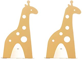 Loupdeloup Cute Bookends,Non Skid Giraffe Animal Book Ends for Shelves Decorative for Kids Yellow 1 Pair