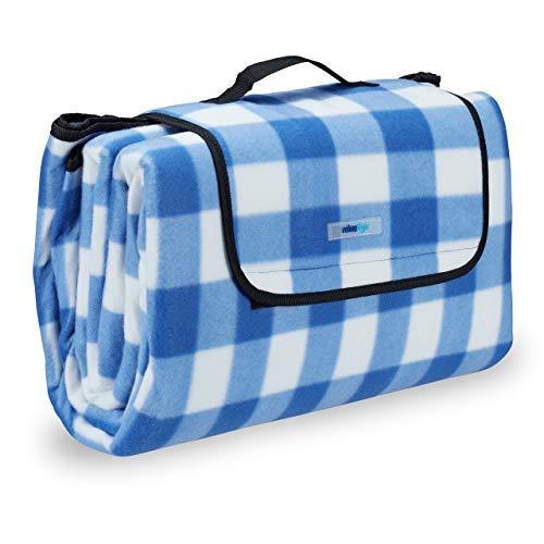 Relaxdays Picknickdecke XXL, 200 x 200 cm, Fleece Stranddecke, wärmeisoliert, wasserdicht, mit Tragegriff, blau-weiß