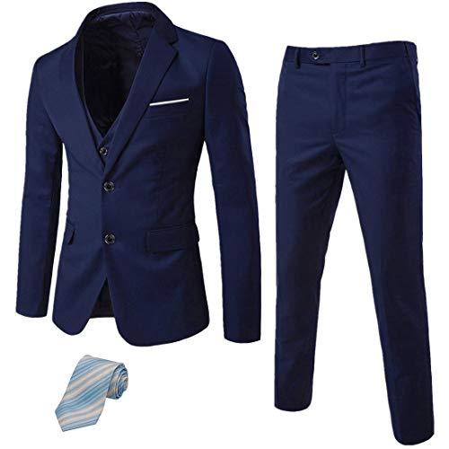MY'S Men's 3 Piece Slim Fit Suit Set, 2 Button Blazer Jacket Vest Pants with Tie, Solid Wedding Dress Tux and Trousers Deep Blue