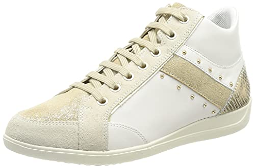 Geox D Myria G, Zapatillas Mujer, Blanco y Beige, 35 EU