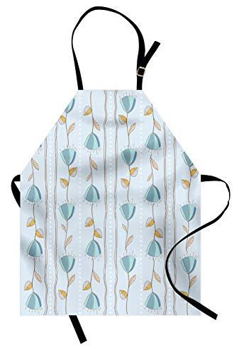 ABAKUHAUS Bloemen Keukenschort, Corsage van Bloemen Stripes, Unisex Keukenschort met Verstelbare Nekband voor Koken en Tuinieren, Pale Blue Yellow Blue