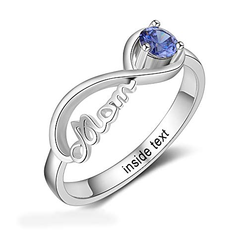 Personalized Mom Jewelry with Simulated Birthstone Infinity Family Cubic Zirconia Ring for Mother (7)