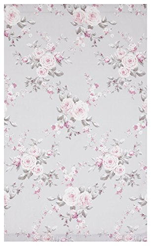 """GREY PINK ROSE FLORAL 66X72"""" 168X183CM LINED PENCIL PLEAT CURTAINS DRAPES"""