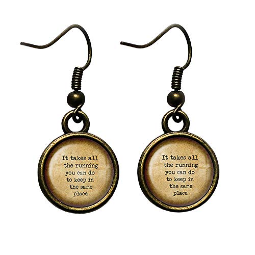 Alice in Wonderland All the Running Keep in the Same Place Antique Bronze Earrings