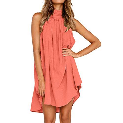 Huifa Women Dress Holiday Irregular Gown Ladies Summer Beach Sleeveless Party Dress (Pink,L)