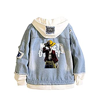 Gumstyle One Piece Anime Denim Hoodie Jacket Adult Cosplay Button Down Jeans Coat 4 L
