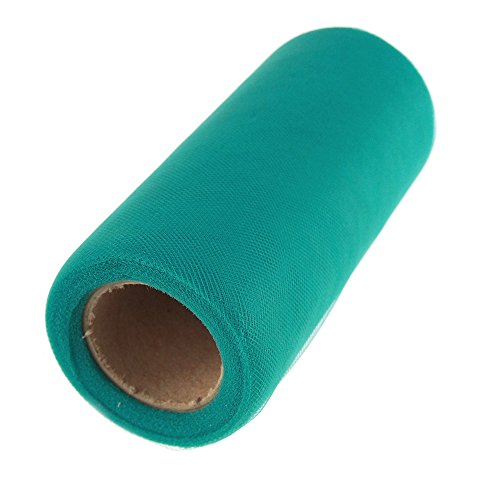 "Homeford FMX136525603 Premium American Tulle 25 yd Roll, 6"", Teal"