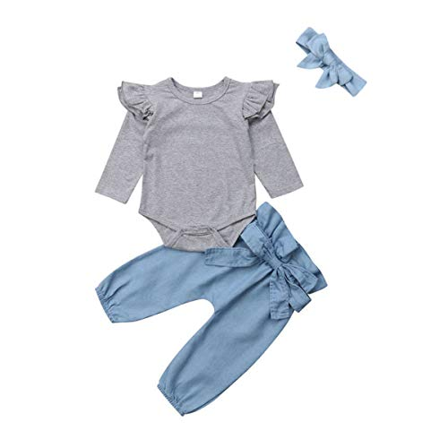Baby Girls Flying Long Sleeve Romper Tops Denim Jeans High Waist Pants Bow Tie Waistband 2 PCS Outfits (6-12 Months, Grey & Blue)
