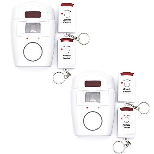 Adapter-Universe 2X Infrarot Alarmanlage Sicherheitssystem Sensor Bewegungsmelder Kabellos mit Fernbedienung Sirene Alarm Erkennungssensor