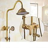CLJ-LJ Grifo de ducha para lluvia, sistema retro de ducha de doble manija, incluye manguera de ducha, grifo de ducha de mano y bañera para baño, hotel, hogar, latón hermoso y práctico