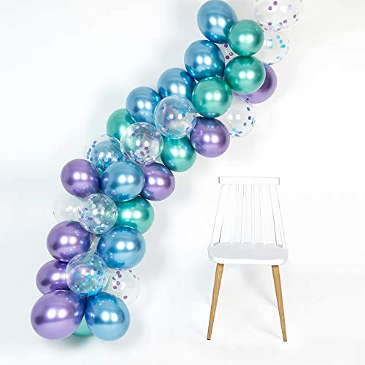 Mermaid Party Supplies Metallic Balloons Arch Kit 50Pcs Thicker Balloon for Birthday Bridal Shower Baby Shower Under The Sea Chrome Blue Confetti Purple Green Color