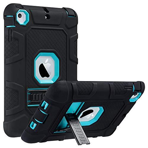 ULAK iPad Mini 1/2/3 Hülle, [Armor Serie] Stoßfest Schutzhülle mit Kickstand 3 in 1 Soft Silikon + Hart PC Tasche Standfunktion case Cover für Apple iPad Mini/Mini 2/Mini 3 - Blau