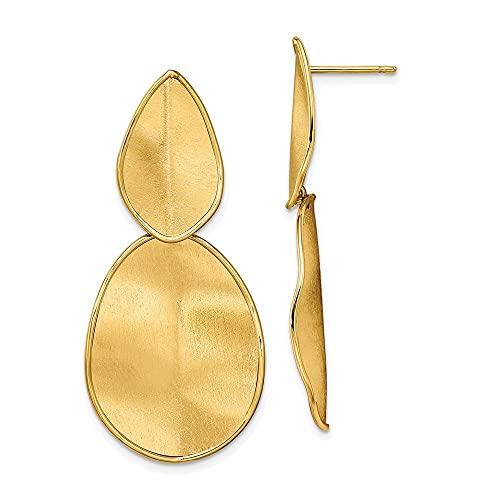 Pendientes largos de oro de 14 quilates con textura pulida y larga caída, medidas de 43,93 x 20,6 mm de ancho, regalos para mujeres