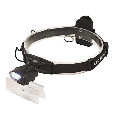 ENJOHOS LED Lupenbrille Kopflupe mit Licht,Kopfbandlupe für Brillenträger, Lesen, Nähen, Handwerk, Juweliere, und Reparatur,1.0X/1.5X/2.0X/2.5X/3.5X,5 Linsen(Schwarz)